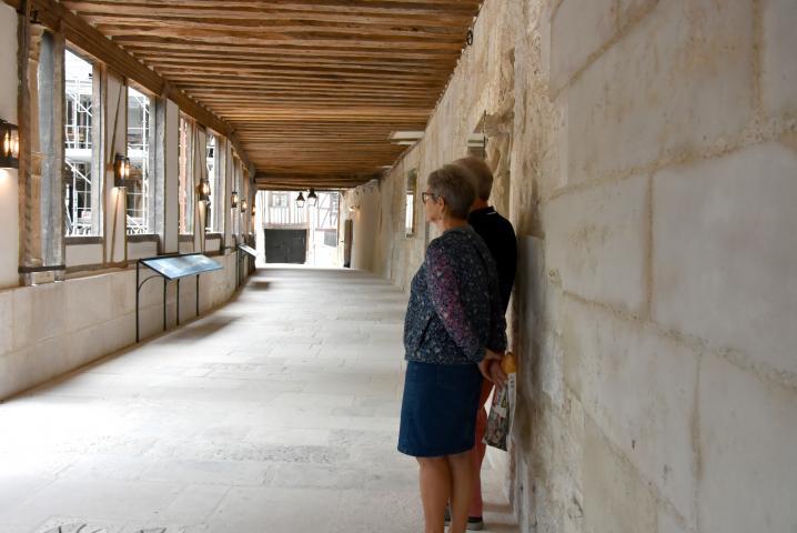 Passage en pierre blanche avec ampoules le long du mur dans le cloître de l'aître Saint-Maclou donnant sur le jardin