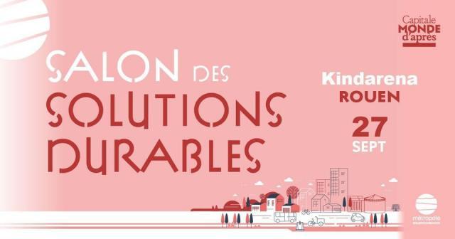 """bannière sous forme d'un rectangle rose où est inscrit en rouge et en majuscules sur deux lignes """"salon des solutions durables"""""""