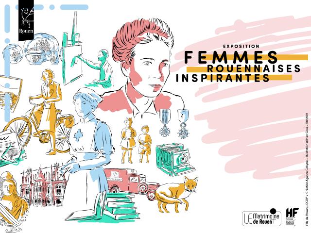 Dessin sur lequel l'on voit des portraits de femme en rose, un appareil photo en vert, une infirmière en bleu, une femme en train de peindre en vert, une autre à vélo en jaune