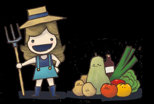 Dessin d'une paysanne avec une fourche et des légumes