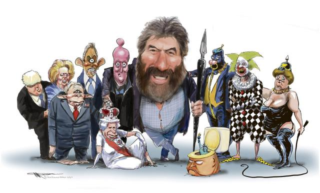 Steve Bell et ses caricatures par lui-même