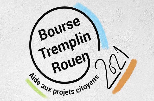 """un cercle noir entoure un logo écrit en noir """"bourse tremplin Rouen 2021"""""""