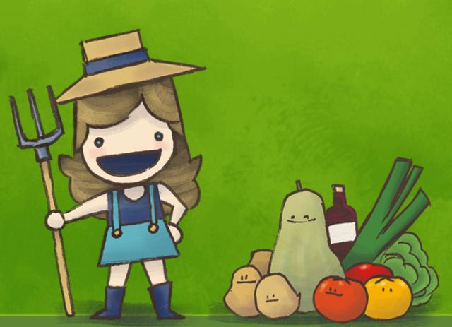 Petite fermière avec des légumes