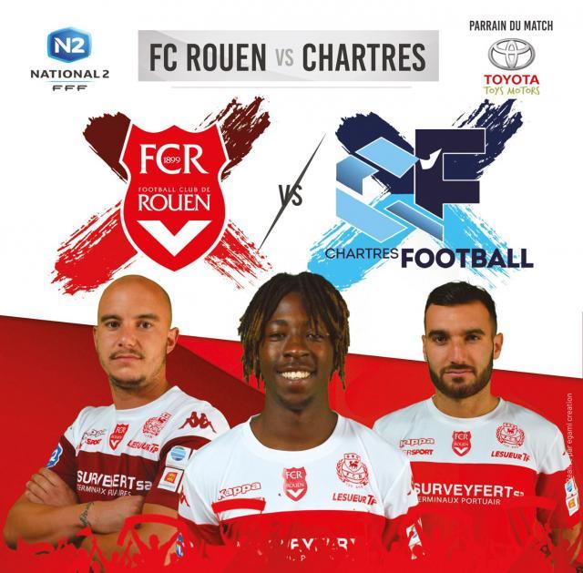 L'affiche du match contre Chartres avec 3 joueurs du FCR
