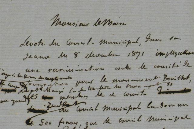 Extrait d'une lettre de Flaubert adressée au maire de Rouen