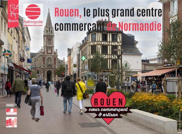 """Affiche """"Rouen coeur commerçant et artisan"""""""