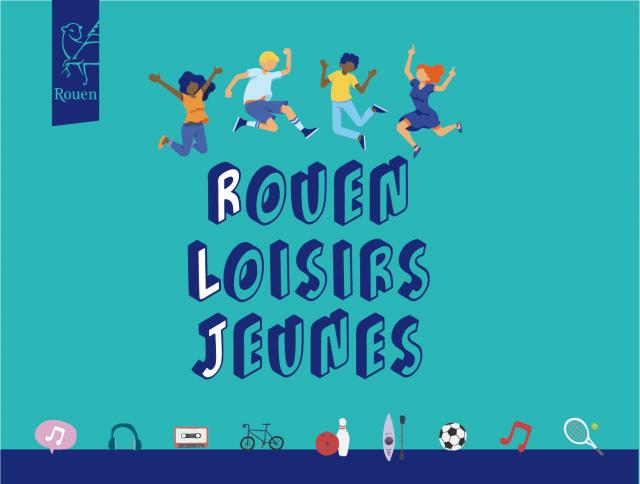 affiche sur fond vert sur laquelle est inscrit en lettres bleues et en majuscules Rouen loisirs jeunes avec en haut des enfants dessinés qui sautent et en bas, dessinés une raquette de tennis, un ballon de football , un vélo et des notes de musiquede l'inscription,