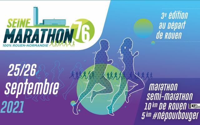 Visuel 2021 de la course Seine-Marathon 76, un homme et une femme dessinés