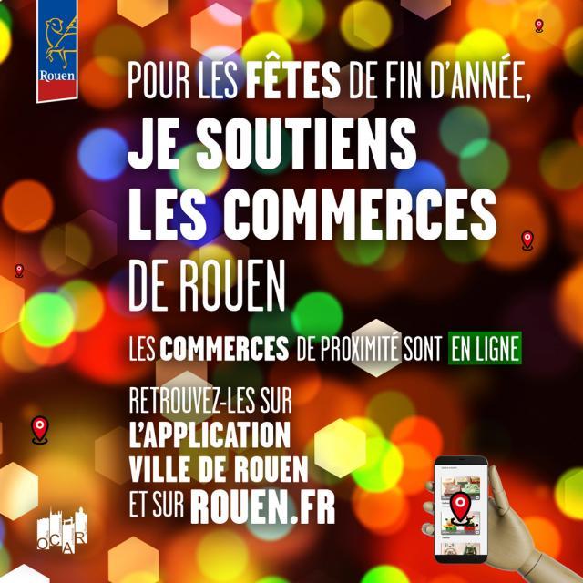 """Visuel """"Pour Noël, je soutiens les commerces de Rouen"""""""